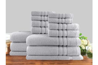 14 Piece Luxury Stripe 100% Cotton Towel Set 650GSM (Silver)