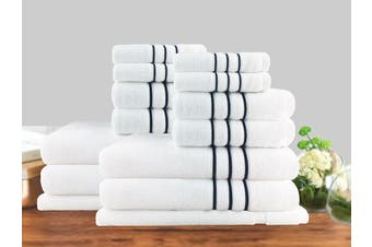 14 Piece Luxury Stripe 100% Cotton Towel Set 650GSM (White)