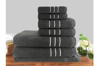 7 Piece Luxury Stripe 100% Cotton Towel Set 650GSM (Charcoal)