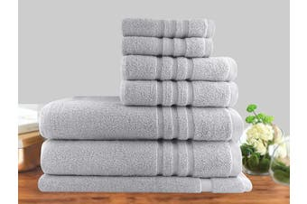 7 Piece Luxury Stripe 100% Cotton Towel Set 650GSM (Silver)