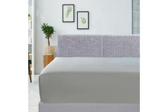 400TC Bamboo Cotton Fitted Sheet (Double, Silver)