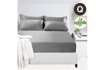 400TC Bamboo Cotton 1  Fitted Sheet with 2 Pillowcases (Queen, Silver)