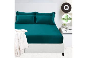 400TC Bamboo Cotton 1  Fitted Sheet with 2 Pillowcases (Queen, Teal)