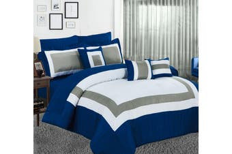 10PC Comforter with Sheet Set  (Navy)