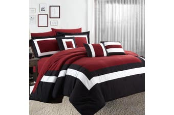 10PC Comforter with Sheet Set  (Red)
