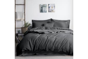 3PC Linen Cotton Quilt Cover Sets (Charcoal)