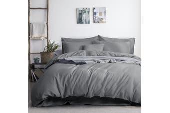 3PC Linen Cotton Quilt Cover Sets (Grey)