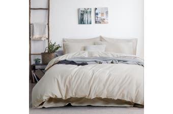 3PC Linen Cotton Quilt Cover Sets (Natural)