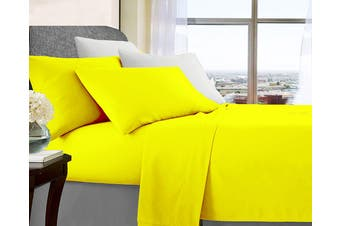 Soft Brushed Microfibre Sheet Sets (Queen Yellow)