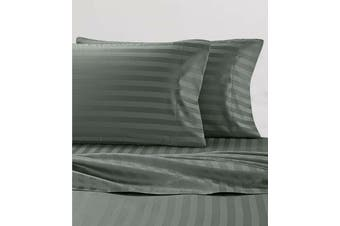 Stripe Soft Microfibre Sheet Set (Queen, Charcoal)