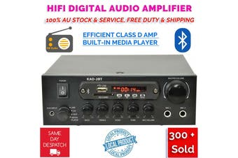 KAD-2BT DJ PA HiFi Digital Stereo Amplifier Bluetooth USB SD FM Class D 200W 2 x Mic Karaoke Function