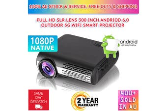 New Native 1080P Android 6.0 Wifi Bluetooth Full HD SLR Lens LED Projector Media Home Outdoor Cinema HDMI USB VGA With Speaker