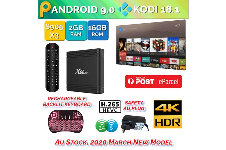 X96 Air Android 9.0 TV Box 2GB 16GB USB 3.0 3D 4K H.265 KD18.2 Smart Streaming Media Player With Backlite Keyboard