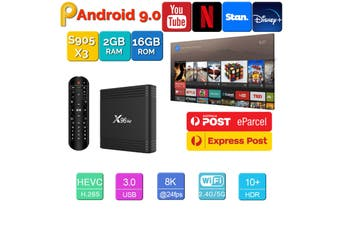 X96 Air Android 9.0 TV Box 2GB 16GB USB 3.0 4K H.265 KD18.2 Smart Streaming Media Player
