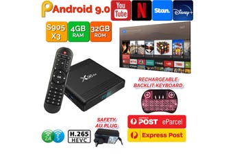 X96 Air Android 9.0 TV Box 4GB 32GB USB 3.0 BT4.1 Dual WiFi 3D 4K H.265 KD18.2 Smart Streaming Media Player With Backlite Keyboard