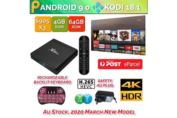 X96 Air Android 9.0 TV Box 4GB 64GB USB 3.0 BT4.1 Dual WiFi 3D 4K H.265 KD18.2 Smart Streaming Media Player With Backlite Keyboard