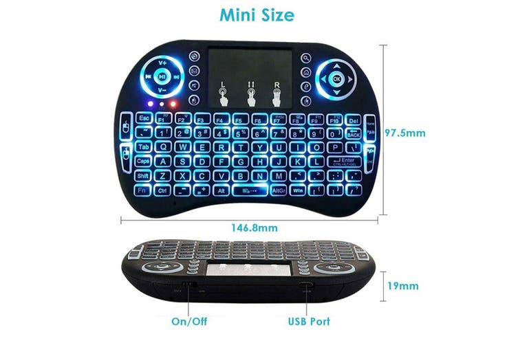 I8 Mini Wireless Keyboard for Smart TV Android Box PC Fire Stick Games 2.4GHz with Touchpad