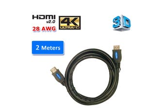 HDMI 2.0 High Speed Cable 2M Gold Plated Connectors Ethernet ARC HD 1080p 3D Cinema Plus 28AWG 4K 60Hz HDCP