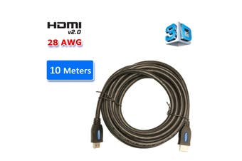 HDMI 2.0 High Speed Cable 10M Gold Plated Connectors Ethernet ARC HD 1080p 3D Cinema Plus 28AWG 4K 60Hz HDCP