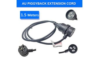 1.5m Piggyback Extension Cord 240V Power Lead Cable AU 3-Pin Black