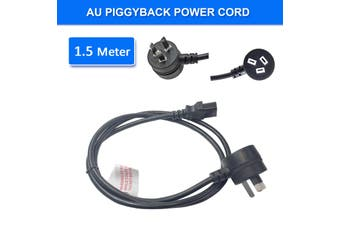 1.5m Piggyback Power Cord 240V Power Lead Cable AU 3-Pin Black