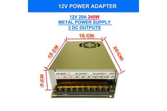 240V AC to DC 12V 20A 240W Switch Power Supply Driver,Power Transformer for CCTV camera/ Security System/ LED Strip Light/Radio/Computer Project