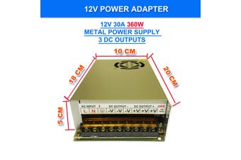 240V AC to DC 12V 30A 360W Switch Power Supply Driver,Power Transformer for CCTV camera/ Security System/ LED Strip Light/Radio/Computer Project