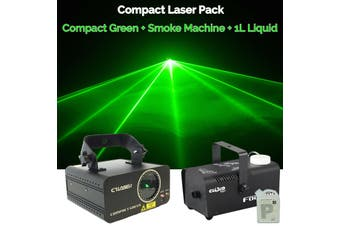 CR Laser Compact Green 100mW Laser Disco Light Party Set come with 400W Smoke Machine and 1L Liquid