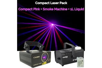 CR Laser Compact Pink 250mW Laser Disco Light Party Set come with 400W Smoke Machine and 1L Liquid