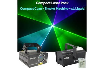 CR Laser Compact Cyan 150mW Laser Disco Light Party Set come with 400W Smoke Machine and 1L Liquid