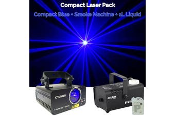 CR Laser Compact Blue 500mW Laser Disco Light Party Set come with 400W Smoke Machine and 1L Liquid