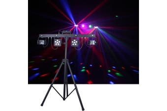 CR Mix Party Bar Pro 2 X Derby 2 X LED Par 4 X UV/Strobe and RG Laser with Wireless footswitch Controller Stand and Carry bag