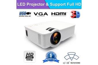 Mini Portable Home Game & Moive Projector Support 1080p HDMI USB VGA