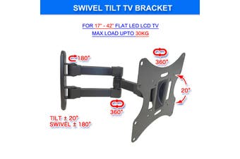"Full Motion TV Wall Bracket Swivel Tilt 17""-42"" LCD LED Plasma TV Monitor VESA Bracket compatible with VESA 400X400 30kg Capacity"