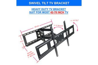 "Full Motion Articulating Swivel Tilt LCD LED Flat TV Wall Mount Bracket for 42""-70"" TVs Easy to install 70kg Capacity"