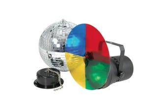 """CR Lite 8"""" inch Mirror Ball Set inc 20cm Mirror Ball Pinspot with Color Wheel and Motor"""