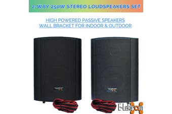 "E-lektron EWL5P Black 5"" inch 250W Passive Bookshelf Speaker Pair Wall Bracket 2 Way Stereo DJ PA"