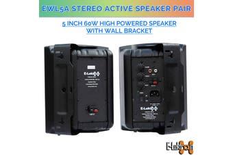 "E-lektron EWL5A Black 5"" inch 2 X 60W Active Bookshelf Speaker Pair Wall Bracket 2 Way Stereo DJ PA"