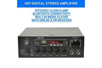 KAD-2BT DJ PA HiFi Digital Stereo Amplifier Bluetooth USB SD FM Class D 200W 2 x Mic