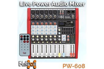 E-Lektron PW-608 Live Power Audio Mixer 6-channel + stereo MP3-channel mixer incl. 2x 250W power