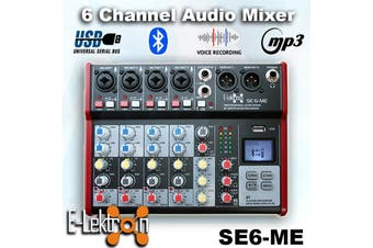 E-Lektron SE-6 Live Audio Mixer 6 Channel Mixer incl. USB Bluetooth Soundcard Phantom Power Audio Interface