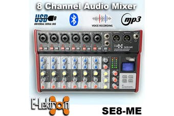 E-Lektron SE-8 Live Audio Mixer 8 Channel Mixer incl. USB Bluetooth Soundcard Phantom Power Audio Interface