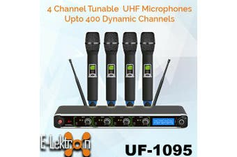 E-Lektron UF-1095 digital 400 Channels tunable dynamic UHF wireless microphone system 4xHandheld Microphone System