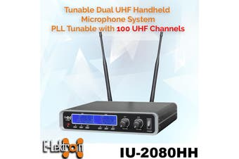E-Lektron IU-2080HS digital 100 Channels tunable dynamic UHF wireless microphone system 2xHeadset Bodypack Microphone System
