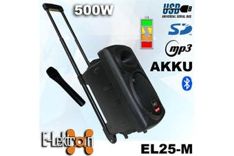 E-Lektron EL25-M 10 inch Mobile PA Sound System Bluetooth Battery MP3 Recoding USB SD incl. 1 Wireless Microphone 500W Karaoke Sound System