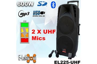 E-Lektron EL225-UHF Dual 10 inch Mobile PA Sound System Bluetooth Recoding Battery MP3 USB SD incl. 2 UHF Wireless Microphone 600W Karaoke Sound System