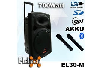 E-Lektron EL30-M 12 inch Mobile PA Sound System Bluetooth Battery Recoding MP3 USB SD incl. 2 Wireless microphones 700W Karaoke Sound System