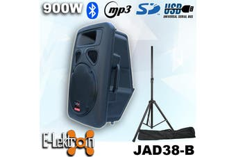 "E-lektron 15"" inch Powerful 900W Active Speaker Loud Digital Sound System PA Bluetooth + Speaker Stand"