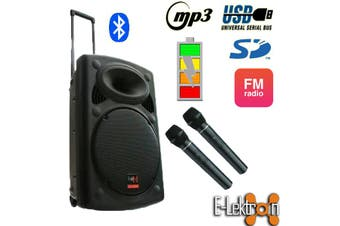 E-Lektron EL38-M 15 inch Mobile PA Sound System Bluetooth Battery Recoding MP3 USB SD incl. 2 Wireless microphones 900W Karaoke Sound System