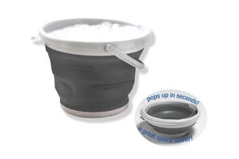 Grey Collapsible Dish Washing Bucket 10L Bowl